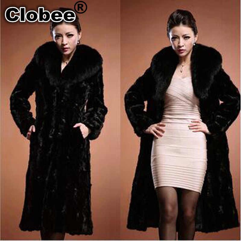 2019 da Pele Do Falso Casaco Longo Casaco para As Mulheres Coelho Cabelo Pele Preta Gola Virada Para Baixo Longo S-6XL Plus Size Jaqueta das mulheres de Inverno