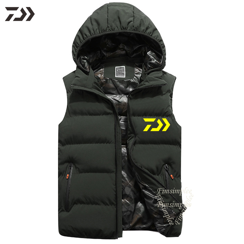 Daiwa Hooded Windproof Thermal Thick Cotton Fishing Men Vest Solid Fishing Zipper Pocket Clothes Hiking Camping Fishing Clothing