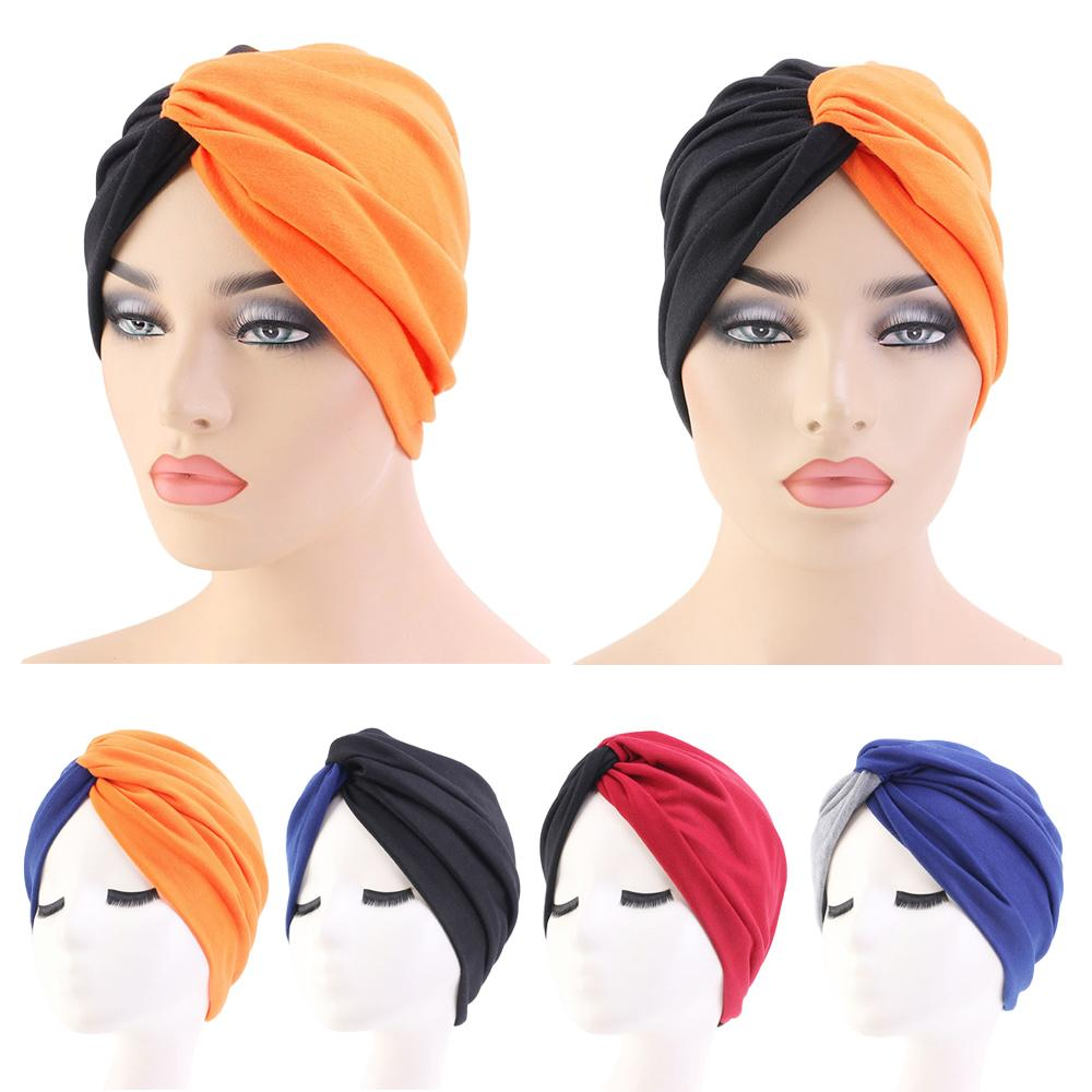India Hat Women Pleated Bonnet Turban Muslim Hair Loss Headcover Chemo Cap Beanies Skullies Wrench Color Block Casual Cap