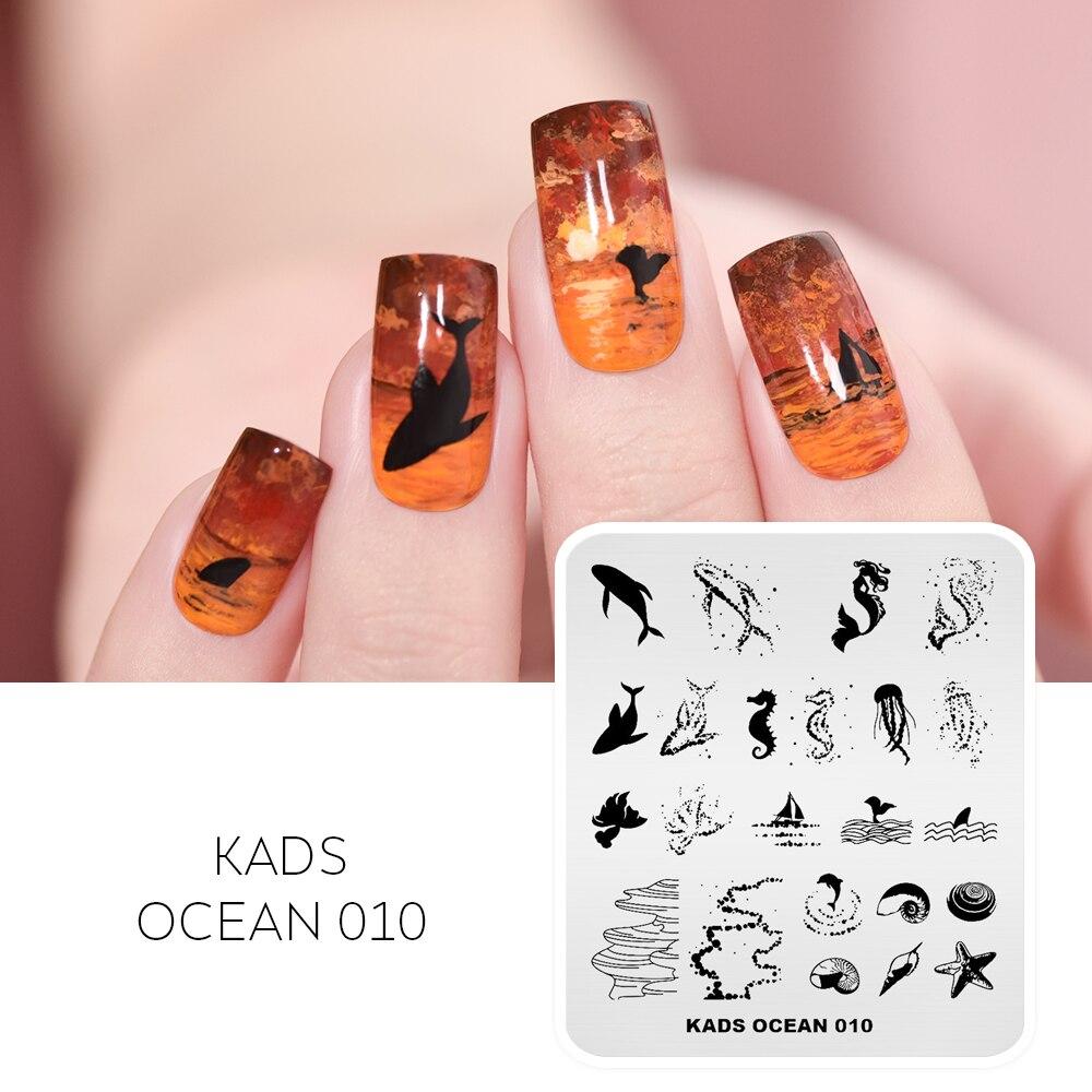 KADS 11 Дизайн океан серии дельфины раковины рыбы Русалка штамповка Дизайн ногтей шаблон инструменты для ногтей трафарет для ногтей штамп пла...