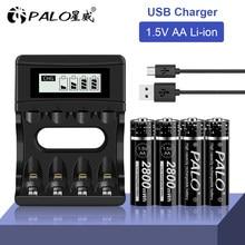 Palo 1.5 V Aa Li-Ion Batterij Lader Lithium 2800mWh 1.5 V Liion Aa Oplaadbare Batterijen Voor Afstandsbediening Speelgoed Batterij licht