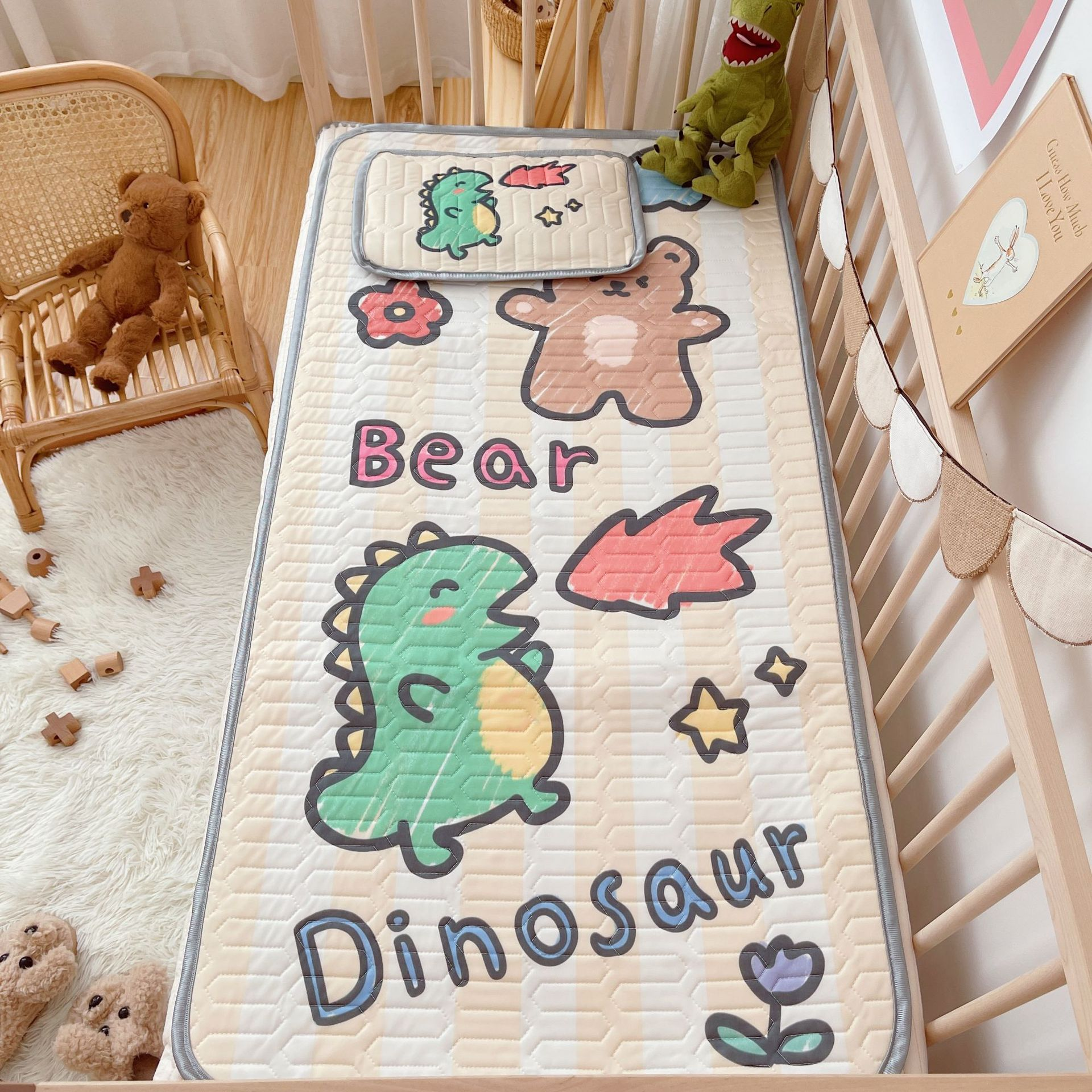 High quality 60*120 Baby Mattresses Sheets Cartoon Animals Baby Latex Soft Mat Summer Kids Bedding  Play Pad