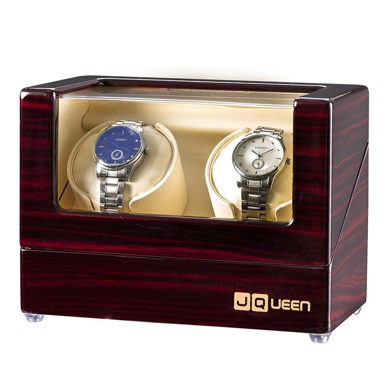 JQUEEN Ebony Watch Winder with Quiet Motors 2+0 Storage High Quality