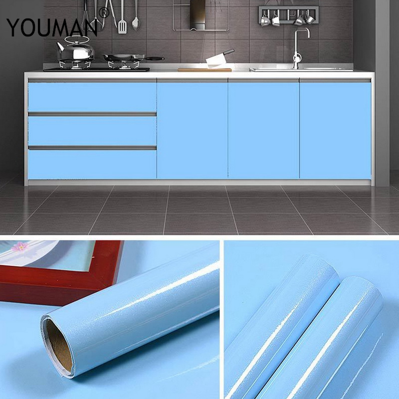 Купить с кэшбэком Wallpapers youman 10M New Pearlescent DIY Decor Film Renovation Sticker Wardrobe Kitchen Cabinets PVC Waterproof Self Adhesive