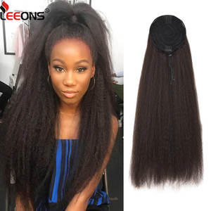 Leeons Drawstring Ponytail Hair-Extension Comb Clip Elastic-Band Afro Kinky Straight
