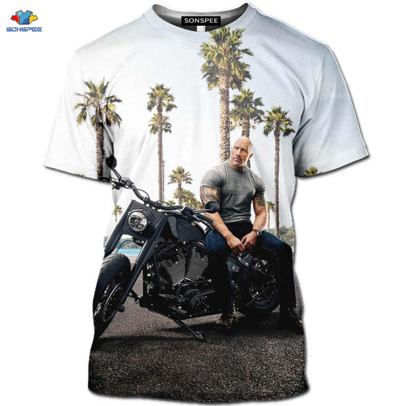 Sonspee 3D Gairah Film Fast & Furious T-shirt Motor Hobbs dan Shaw Kemeja The Fate Of The Furious T-shirt GTR racing Top