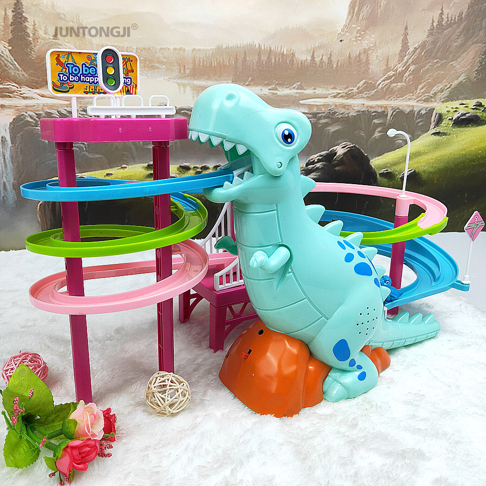 New Climbing Stairs Toys Dinosaur Slide Railcar Track Toys Entertainment Intellectual Development Interesting Gift Funny Music H