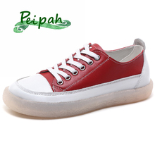 PEIPAH Genuine Leather Women Shoes Spring/Autumn Casual Woman Flats Lace-Up Sneakers College Students Female Flat
