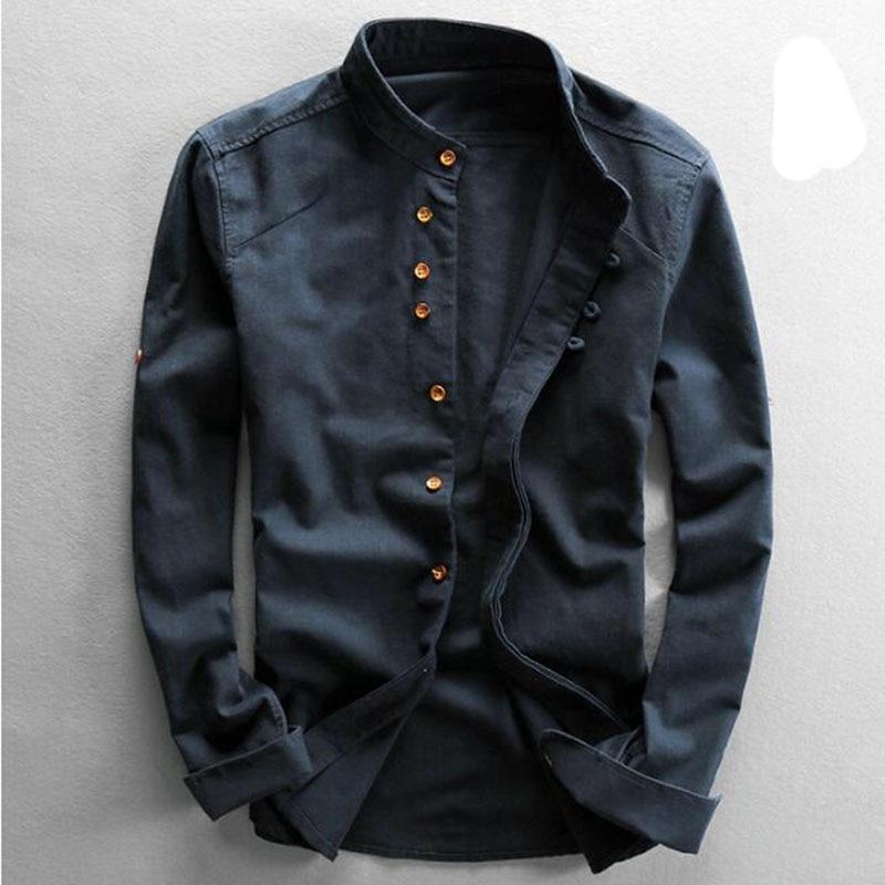 Men's Cotton Linen Shirts Long Sleeve Men Casual Slim Mandarin Collar Shirts High Quality Summer Beach Shirt plus size 6xl 3