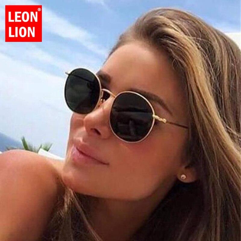 LeonLion Round Retro Sunglasses Women Luxury Brand Glasses For Women/Men Small Sunglasses Women Mirror Oculos De Sol Gafas UV400
