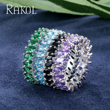 RAKOL New 3 Colors Fashion High Quality Marquise Cut Cubic Zirconia Bridal Ring for Women Shinny Crystal Leaf Wedding Jewelry solid 14k yellow gold 3x5mm marquise cut cubic zirconia cute women wedding ring cute girl fine jewelry size 3 9