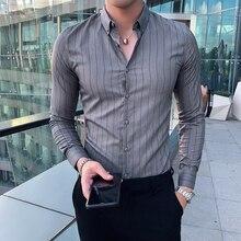 Moda 2019 Homens Listras Camisas Outono Inverno Manga Comprida Camisa Social Dos Homens Slim Fit Casuais Formais Blusa Roupas Smoking Dos Homens 3XL