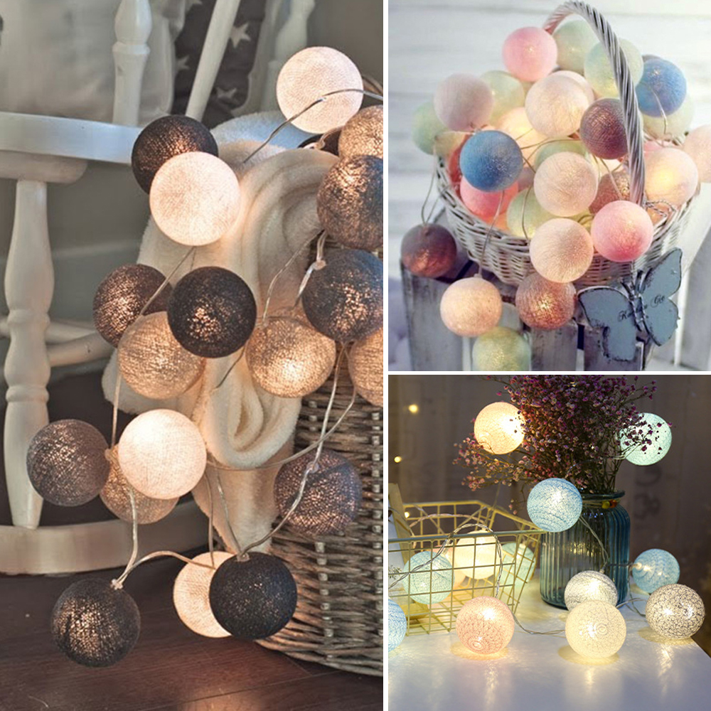 3M LED Cotton Ball Lights Decoration Outdoor Garland Light Holiday Wedding Christmas Party Bedroom Fairy String Light