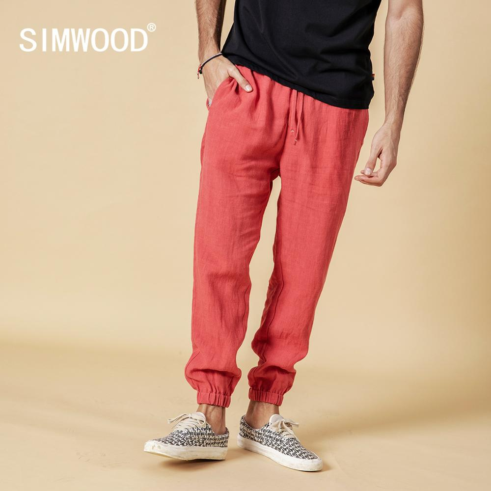 SIMWOOD 2019 Autumn 100% Pure Linen Ankle-length Pants Men Cool Elasticated Waistband Drawstring Plus Size Trousers Male 190095