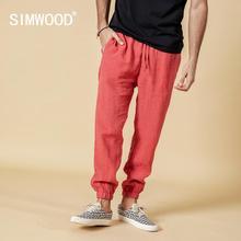 SIMWOOD 2020 אביב 100% טהור פשתן קרסול אורך מכנסיים גברים מגניב חגורה אלסטית שרוך בתוספת גודל מכנסיים זכר 190095