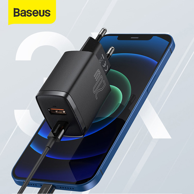 Сетевое зарядное устройство Baseus с двумя USB-портами и поддержкой быстрой зарядки, 20 Вт 1