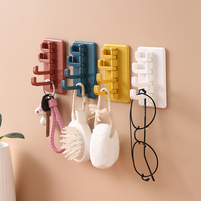 Key Wall Holder With 4 Hooks Multi-function Handbag Coat Rack Home Decorative Sundries Organizer Rack No Marking Adhesive Hook