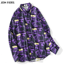 купить 2019 Brand Men Hawaii Shirts Male Casual  printed Slim Fit Shirt Cotton Long Sleeve Dress Shirt Camisa Masculina M-XXL по цене 1225.12 рублей
