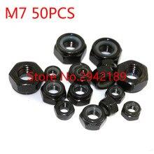 50 pçs/lote DIN985 M7 Nylon lock nut com zinco preto chapeado