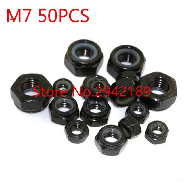 50 unids/lote DIN985 M7 tuerca de bloqueo de Nylon con revestimiento de zinc negro