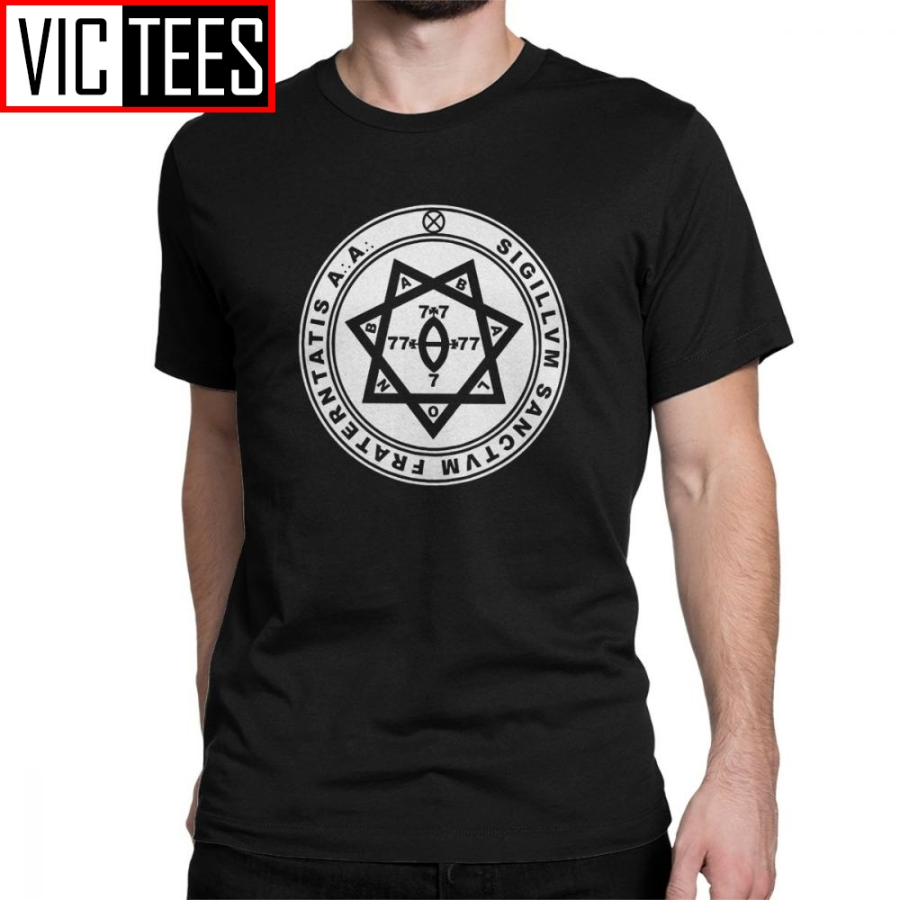 Aleister Crowley Seal Occult Thelema Men's T Shirts Magic Solomon Magical Occult Magick Demon Evil Tee Shirt Short Sleeve