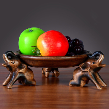 Thai wood carving furnishings solid wood fruit plate elephant fruit tray living room coffee table fruit care fruit plate(A335)