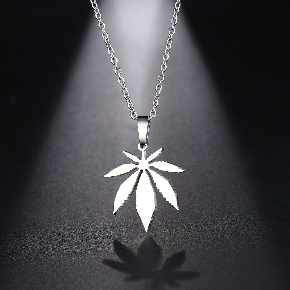 DOTIFI Stainless Steel Necklace For Women Man Maple Leaf Choker Pendant Necklace Engagement Jewelry 3