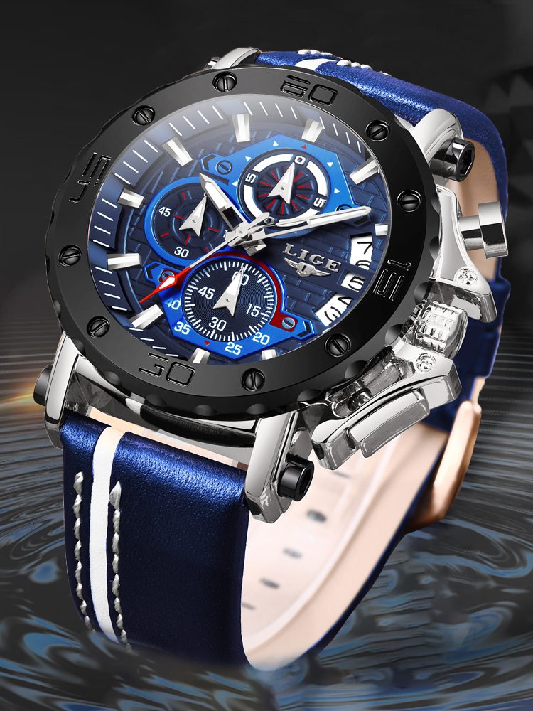 LIGE Mens Watches Military Sport Top-Brand Waterproof Luxury Big Dial New Quartz Masculino
