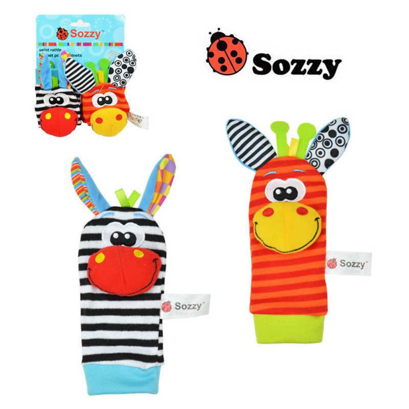 רצועת יד רעשנים בעלי החיים גרבי צעצוע חדש זוג 2 יח'\סט תינוק תינוקות רך Handbells יד רגל התפתחותית צעצועי 0-12Months