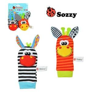 Image 4 - Correia de pulso Chocalhos Meias Animais Brinquedo Novo UM Par 2 pçs/set Handbells Infantil Do Bebê Macio Mão Pé Developmental Brinquedos 0 12Months