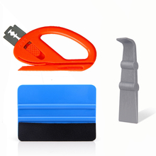 EHDIS Película de revestimiento de vinilo de fibra de carbono para coche, rasqueta, pegatina de coche, Kit de instalación, cortador, accesorios de estilo de coche, 3 uds.