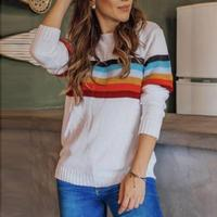 Fashion Women Rainbow Patchwork O Neck Long Sleeve Pullover Loose Sweater Solid Pullover Jumper Loose Sweater Hot Sale #4S17