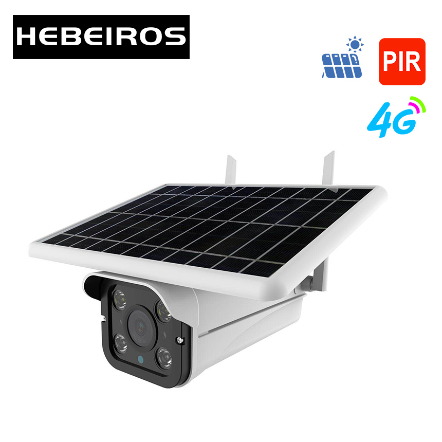 Hebeiros 4G LTE FDD GSM HD 1080P Solar Battery Wireless Outdoor Camera Waterproof Audio 2MP Security Surveillance CCTV IP Camera