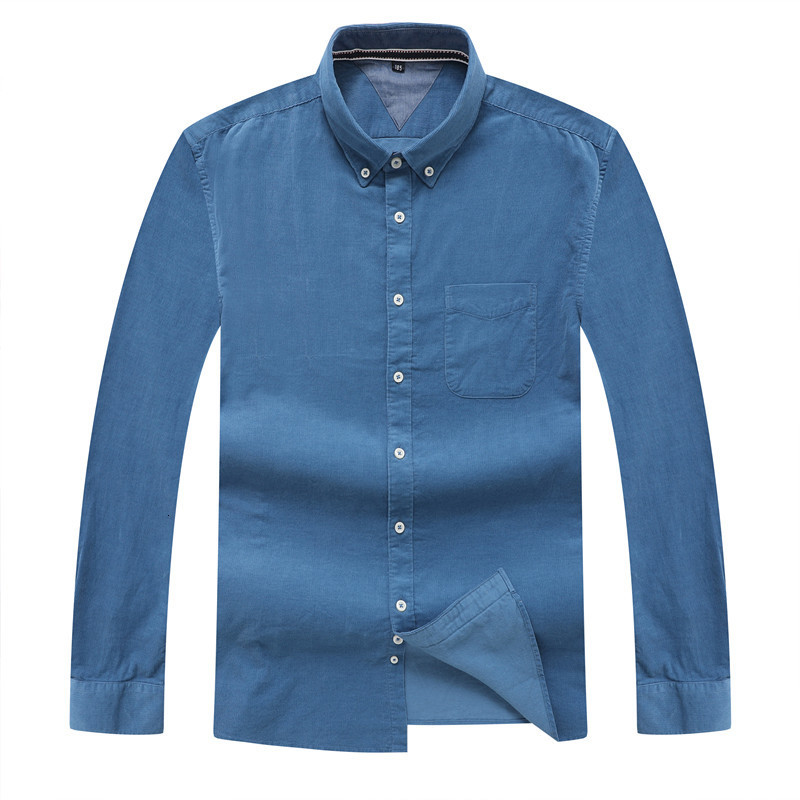 8xl BIG SIZE Autumn/winter Warm Quality 100%cotton Corduroy Long Sleeved Button Collar Smart Casual Shirts For Men Comfortable