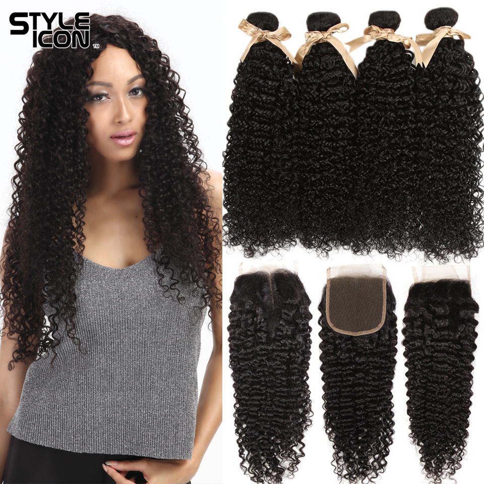 Styleicon Brazilian Kinky Curly Bundles With Closure Non-Remy Curl Human Hair 3 4 Bundles With Closure Hair Wholesale Supplier