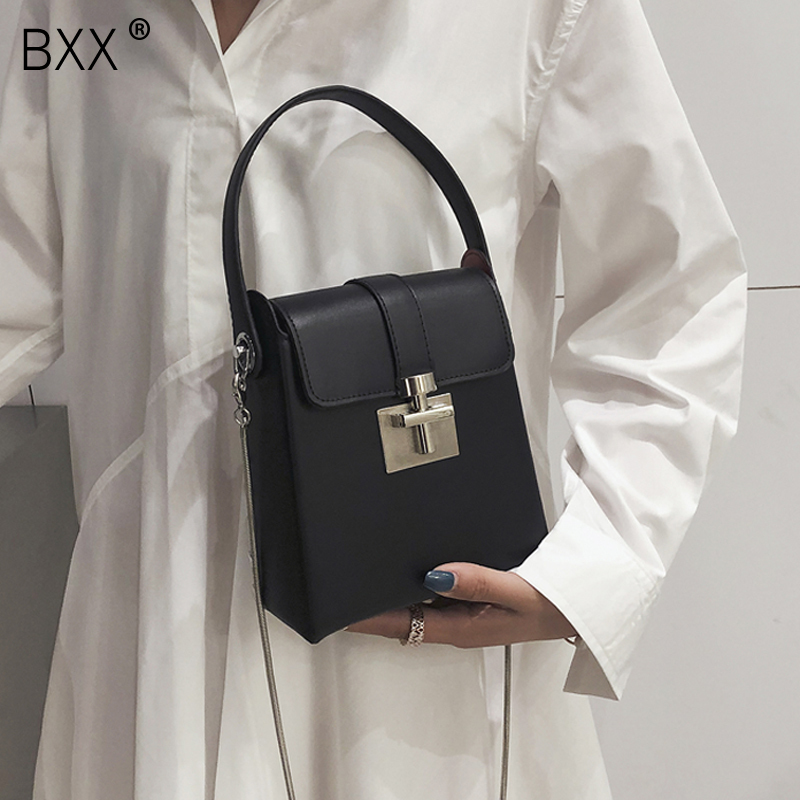 [BXX] Women's Single Shoulder Crossbody Bag All-match Flap 2020 Summer Chic Lock Catch Chain Package Female Party Handbag HF132
