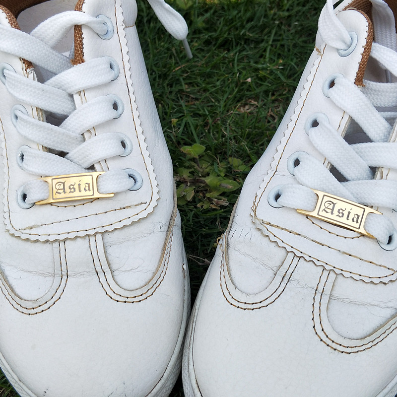 Personalised Shoelace Charm Tags Pendant custom Shoe Buckle Old English 1pair