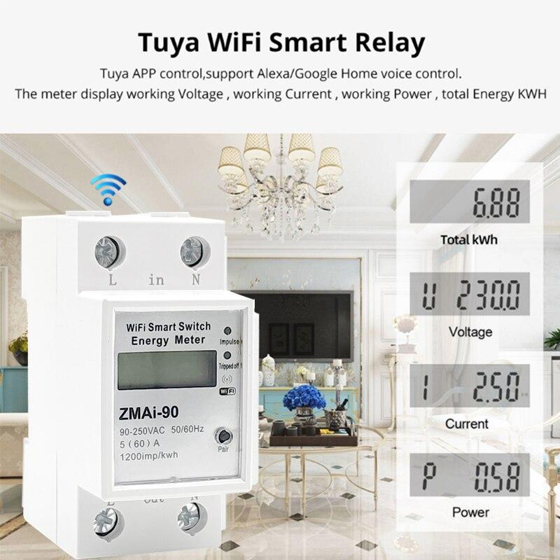 5(60)A wifi kwh meter Digital Electric Consumption kWh DIN Rail Smart Energy Meter WiFi Power Meter with display