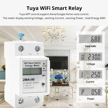 5(60)A wifi kwh meter Digital Electric Consumption kWh DIN Rail Smart Energy Meter WiFi Power Meter with display