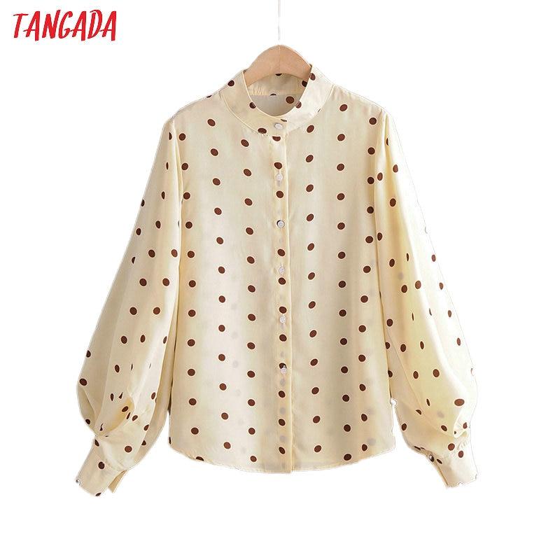 Tangada Korean Fashion Women Retro Dots Print Blouse Puff Long Sleeve Chic Office Lady Shirt Blusas Femininas 1F20