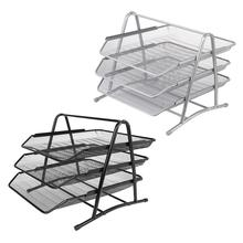 3 Tier Metal Mesh Document Rack File Holder Letter Tray for Home Office Desk Organizer Supplies 3 Tier Metal Mesh Document Rack