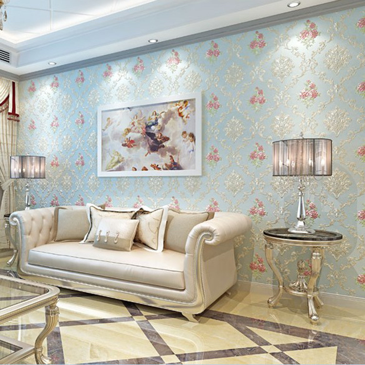 European Style 3D Coining Non-woven Wallpaper Living Room Bedroom TV Background Marriage House Hotel Wall-to-Wall Warm Wallpaper