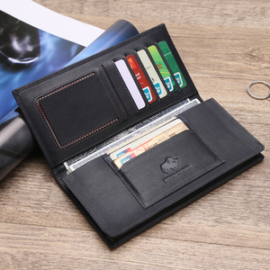 Image 5 - BISON DENIM Men Wallet Genuine Leather RFID Long Clutch Classic Business Large Capacity Card Holder Zipper Coin Purse N4384