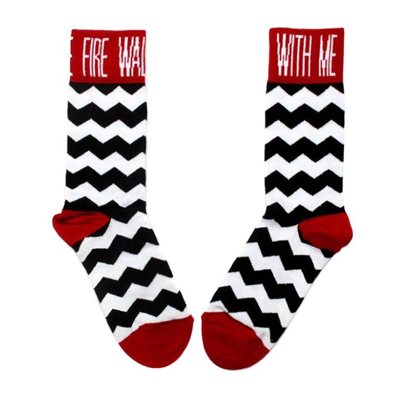 Носки Twin Peaks Fire walk со мной, носки в стиле унисекс с принтом Давида Линча, забавный веер, художественный подарок