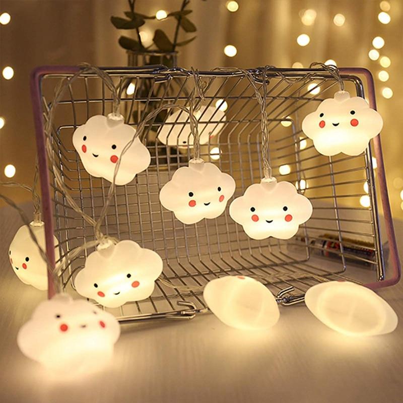 LED Warm White Cute Cloud Small Night Light String Lights Halloween Christmas Room Corridor Decor Holiday Battery Powered Gift