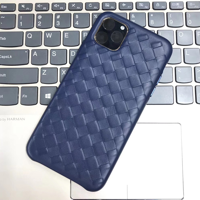 Image 5 - Fashion Woven Pattern Genuine Leather Case For Apple iPhone 11 Pro Max Luxury Soft Good Touch Cover For iPhone 11/ Pro/ Max CaseFitted Cases   -