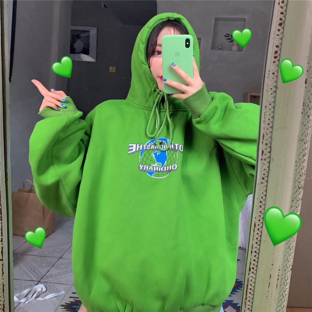2019 Hyuna Ventilation Network Red Avocado Green Long Sleeve Hoodie Student Matcha Green Versatile Loose Tops