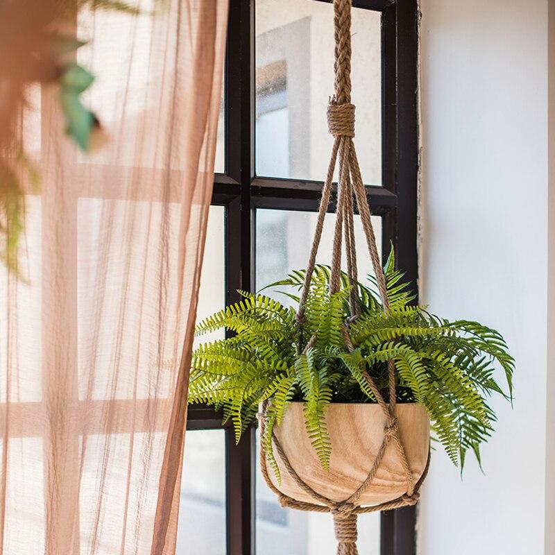1Pc suspendu Pot corde chanvre macramé plante Pot de fleur support suspendu panier cintre maison verticale jardin balcon décoration