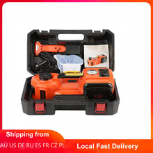12V 5T Illumination Inflating 3 Function Electric Hydraulic Jack Air compre Tool Car Electric Jack Battery Clamp with Wire
