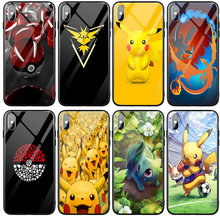 Tempered Glass Phone Cases for iphone 6 5 5S SE 6S Plus 7 8 Plus X XR XS 11 Pro Max Capa Coque Funda Pokemons Go Pikachus